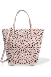 Laser-cut leather tote