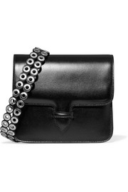 Eyelet-embellished glossed-leather shoulder bag