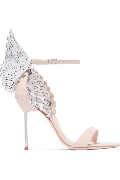 'Evangeline' metallic lasercut Angel Wing leather sandals