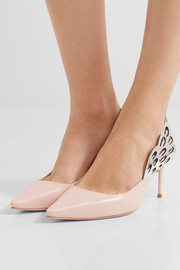 Sophia Webster Angelo cutout metallic-trimmed leather slingback pumps