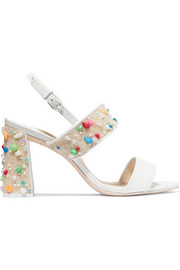 Clarice embellished patent-leather slingback sandals