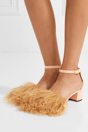 Tufted Dhara shearling and leather sandals