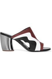 Proenza Schouler Cutout matte, patent and textured-leather mules