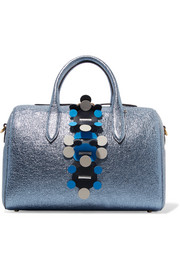Anya Hindmarch Vere Barrel laser-cut appliquéd metallic textured-leather tote