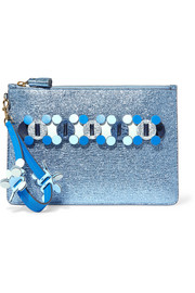 Anya Hindmarch Circulus large laser-cut appliquéd metallic textured-leather pouch
