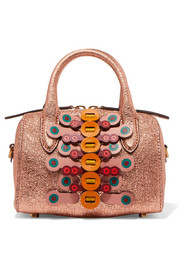 Anya Hindmarch Vere mini laser-cut appliquéd metallic textured-leather tote