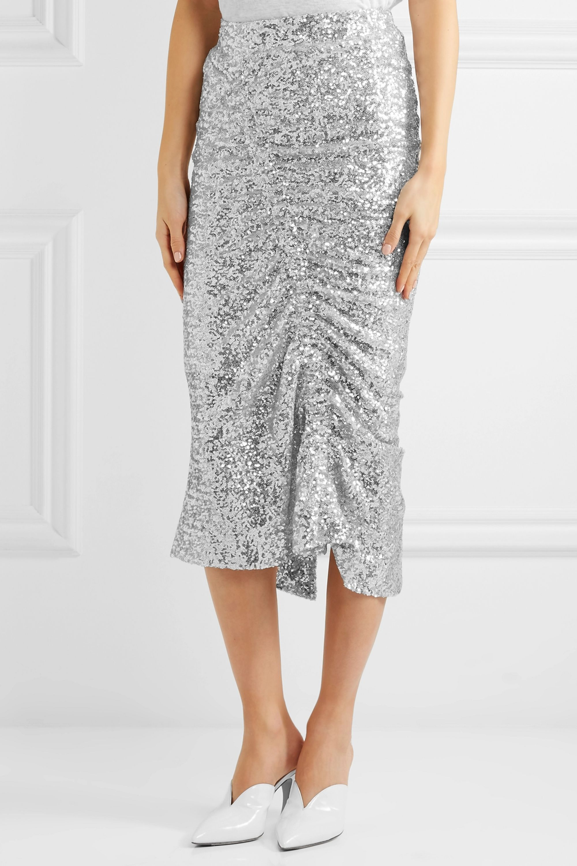 Preen by Thornton Bregazzi Gemma ruched sequined stretch-jersey midi skirt
