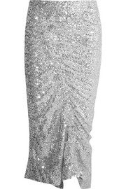 Gemma ruched sequined stretch-jersey midi skirt