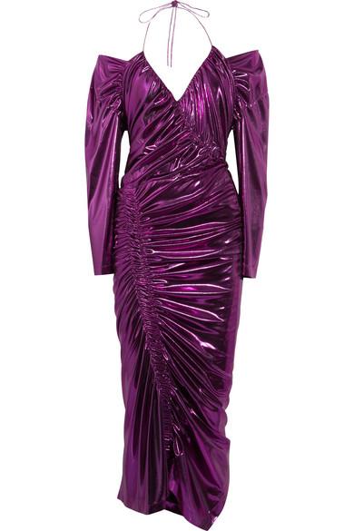 Preen by Thornton Bregazzi - Lazarus Ruched Lamé Midi Dress - Purple