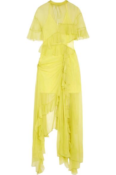 Preen by Thornton Bregazzi - Azura Cutout Asymmetric Ruffled Silk-chiffon Midi Dress - Chartreuse