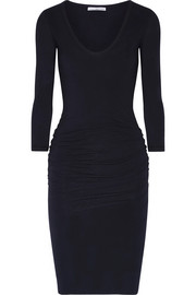 Ruched stretch-cotton jersey dress