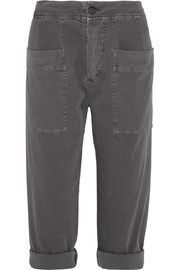 James Perse Cropped stretch cotton-blend twill tapered pants