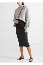 James Perse Ruched stretch-cotton jersey midi skirt
