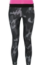 Cropped camouflage-print stretch leggings
