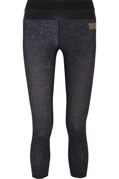 Monreal London - Tribal Cropped Stretch-jersey Leggings - Black