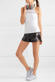 Monreal London Jersey-trimmed printed shell shorts