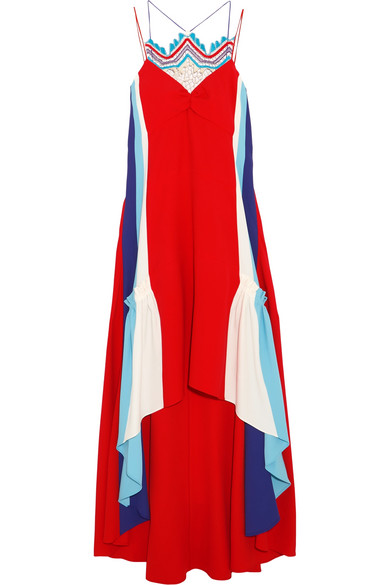 Peter Pilotto - Asymmetric Crochet-trimmed Cady Gown - Crimson