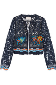 Cropped crochet-trimmed embroidered lace jacket