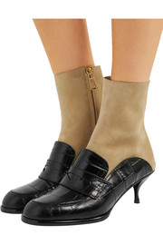 Loewe Croc-effect leather and suede ankle boots