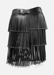 Embellished fringed leather belt