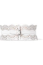 Laser-cut leather waist belt