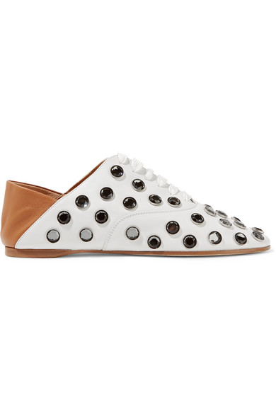 Acne Studios - Mika Crystal-embellished Leather Loafers - Off-white