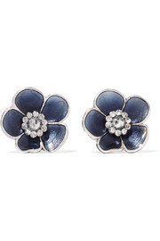 Bottega Veneta Oxidized silver enamel earrings