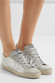 Superstar distressed metallic leather and suede sneakers