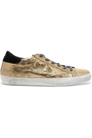 Super Star distressed metallic ostrich-effect leather sneakers