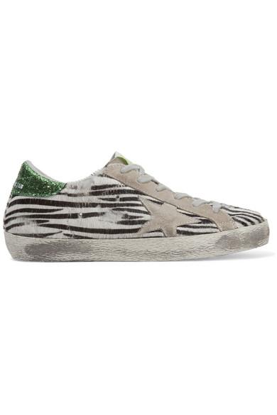Golden Goose Deluxe Brand - Super Star Suede-trimmed Zebra-print Calf Hair Sneakers - Zebra print
