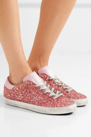 Superstar distressed leather-paneled glittered rubber sneakers