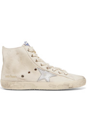 Francy distressed leather-paneled canvas high-top sneakers