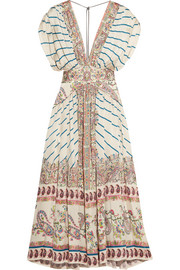 Etro Pleated printed silk-satin twill maxi dress