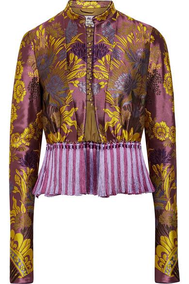 Etro - Tassel-trimmed Floral-jacquard Jacket - Violet