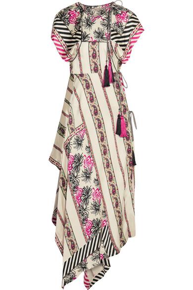 Etro - Asymmetric Printed Silk-satin Twill Wrap Dress - Beige