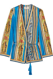 Etro Printed silk-satin wrap jacket