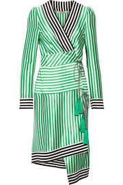 Etro Asymmetric striped silk wrap dress