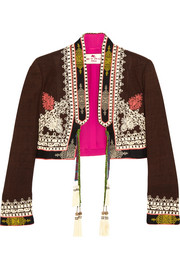 Etro Cropped embroidered silk-canvas jacket