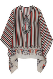 Etro Tasseled cutout striped silk-chiffon top