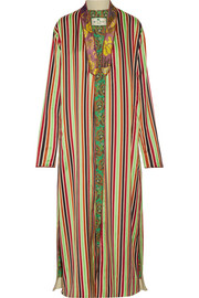 Etro Jacquard-trimmed striped cotton and silk-blend jacket