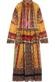 Etro Oversized tasseled printed silk-chiffon maxi dress