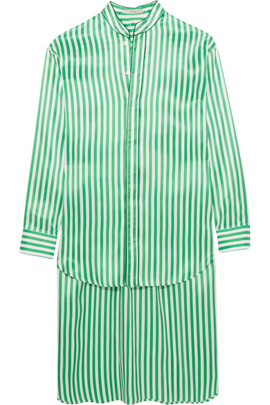Oversized striped silk shirt