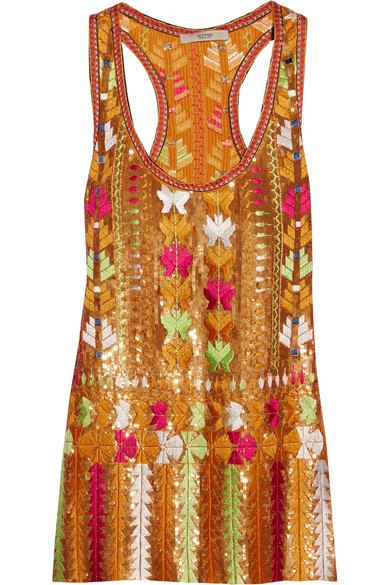 Etro - Embroidered Sequined Silk-chiffon Top - Orange