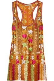 Etro Embroidered sequined silk-chiffon top