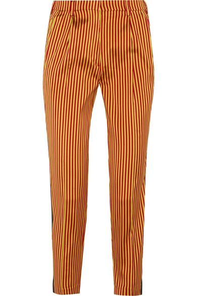 Etro - Striped Silk Straight-leg Pants - Yellow
