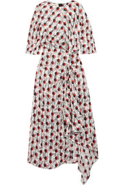 Asymmetric printed silk-jacquard dress