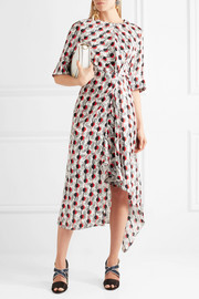 Marni Asymmetric printed silk-jacquard dress
