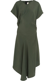 Asymmetric draped crepe de chine dress