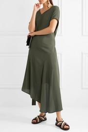 Marni Asymmetric draped crepe de chine dress
