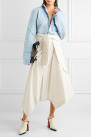 Marni Asymmetric wrap-effect cotton midi skirt